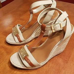 Tommy Hilfiger nude Brown gold espadrille wedges